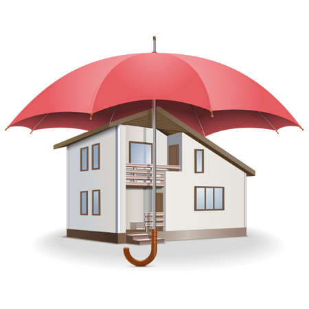 home keeping: Vector Umbrella and House