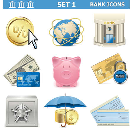checkbook: Vector Bank Icons Set 1