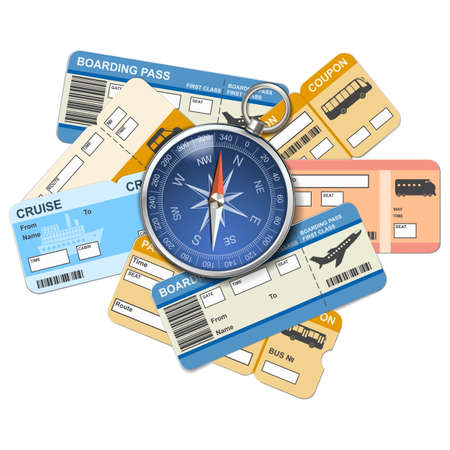 airplane ticket: Vector compass and tickets