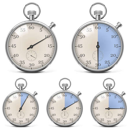 few: Vector Retro Stopwatch Set