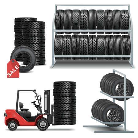 Tire Shop Ikony wektor