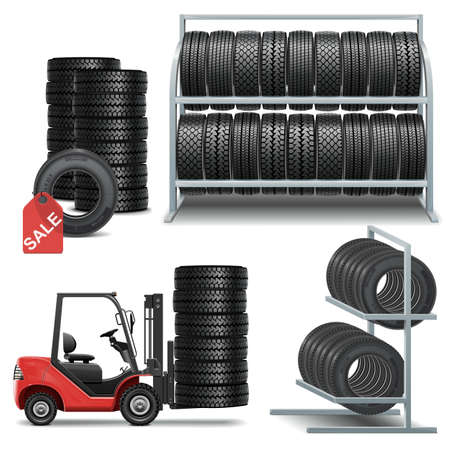 forklift truck: Vector Tire Shop Icons Illustration