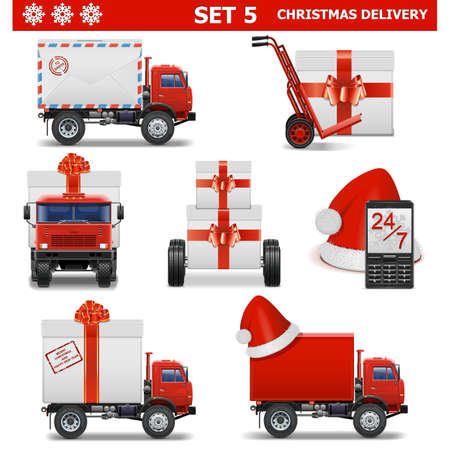 mail truck: Vector Christmas Delivery Set 5