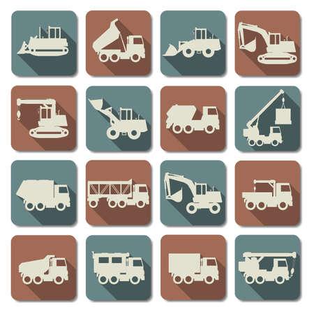 mining truck: Vector Construcción Máquinas planas Icons