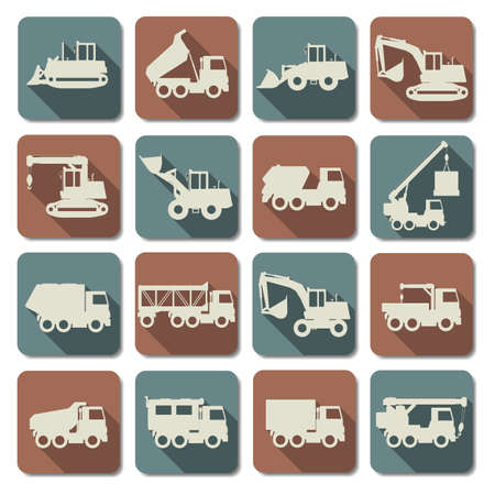mining ship: Vector Construction Machines Flat Icons