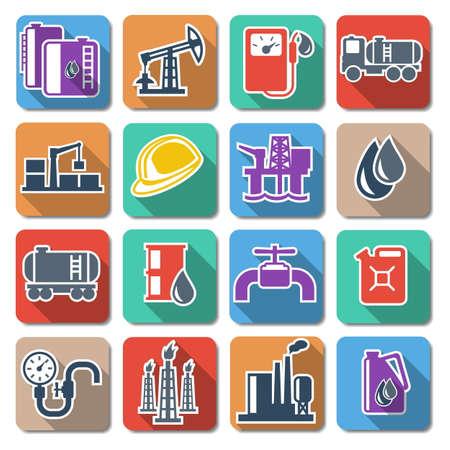 pozo petrolero: Vector Industria petrolera Piso Icons Vectores