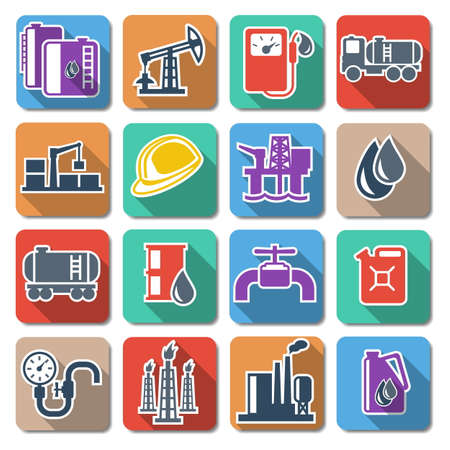 cistern: Vector Oil Industry Flat Icons