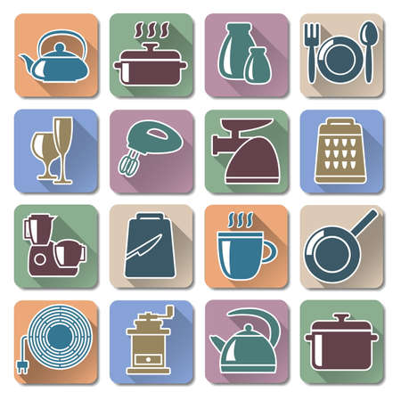 food processor: Vector Kitchenware Retro Flat Icons Illustration