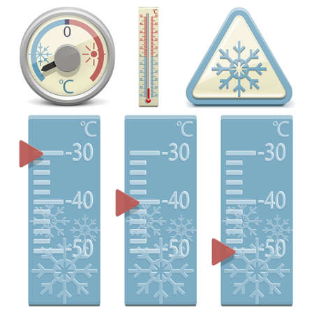degree: Vector Thermometer and Snow Sign Illustration