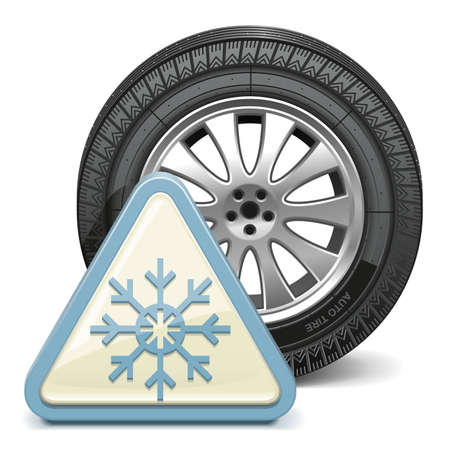Vector Wheel with Snowflake Sign Vector