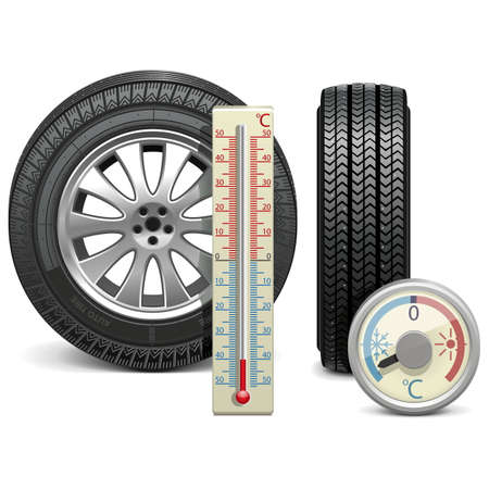 snow tire: Vector Winter Tire and Thermometer Illustration