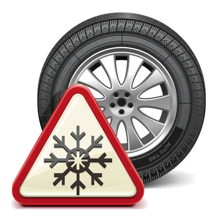 winter car: Vector Winter Tire with Sign