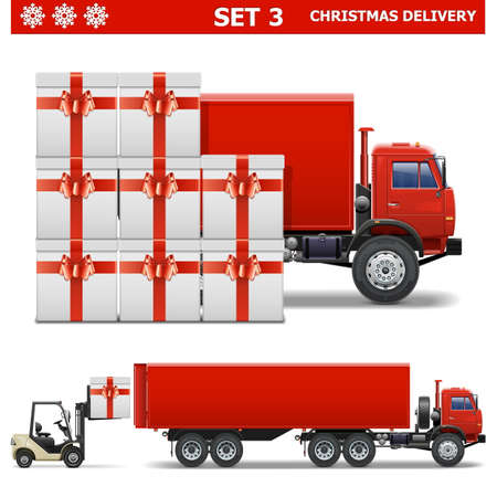 forklift truck: Vector Christmas Delivery Set 3