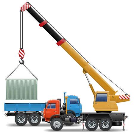 Vector de la grúa y camiones