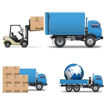 car loader: Vector Shipment Trucks and Forklift Illustration