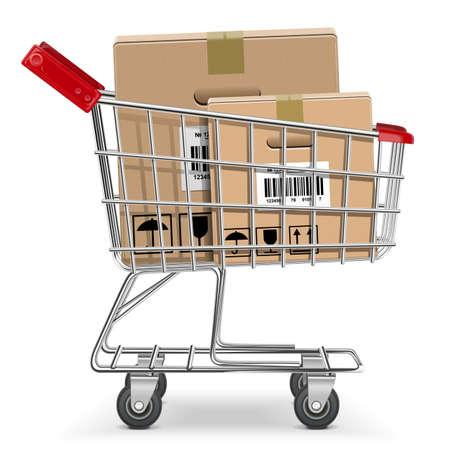 buen servicio: Vector carrito de supermercado con la caja