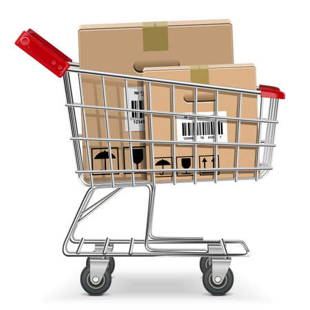 Vector Supermarket Cart with Box Stock Vector - 24352885