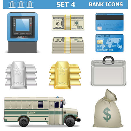 Vector Bank Icons Set 4 Vector