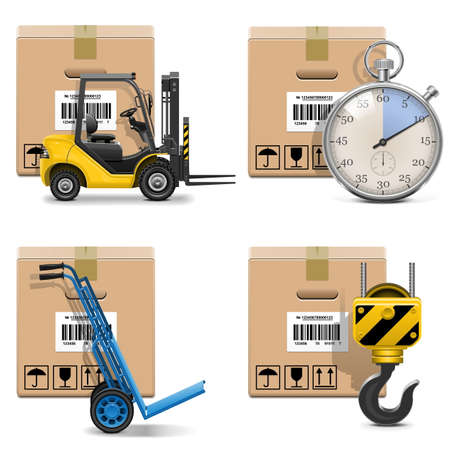 shipments: Vector Shipment Icons Set 12 Illustration