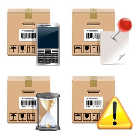 phone box: Vector Shipment Icons Set 14 Illustration