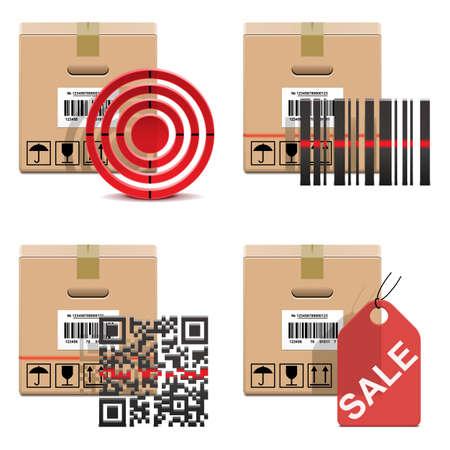 scotch tape: Vector Shipment Icons Set 18 Illustration