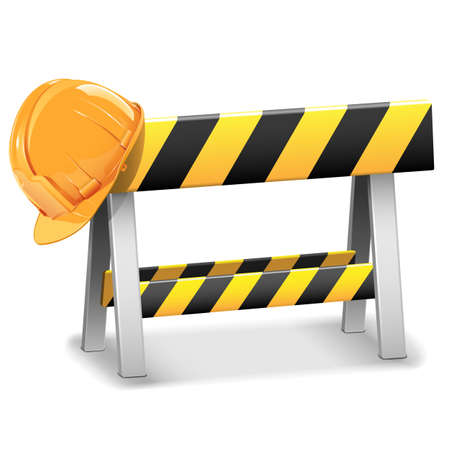 under construction: Vector Under Construction Barrier with Helmet Illustration