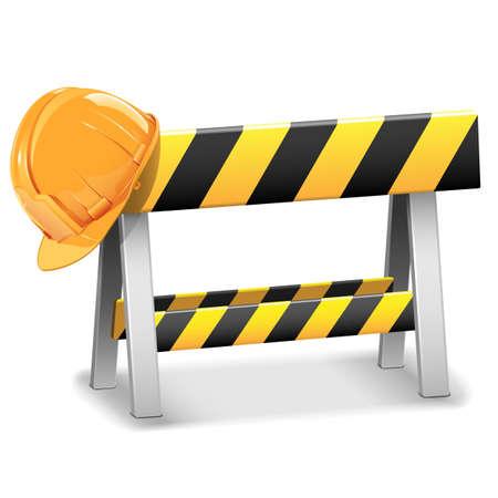 construction barrier: Vector Under Construction Barrier with Helmet Illustration