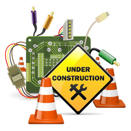Vector Under Construction concetto con Sign Vettoriali