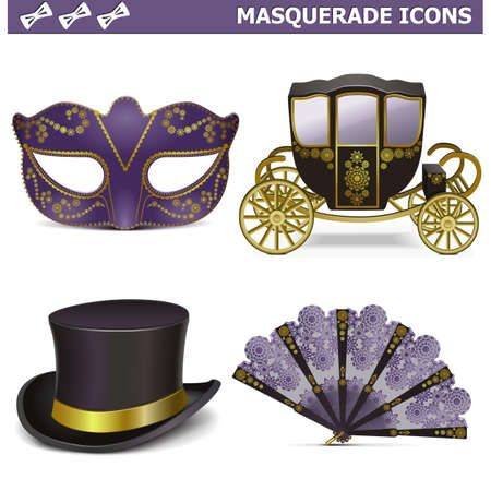 Vector Masquerade Icons Stock Vector - 24353160