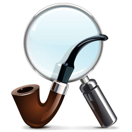 tobacco pipe: Vector Tobacco Pipe and Loupe Illustration