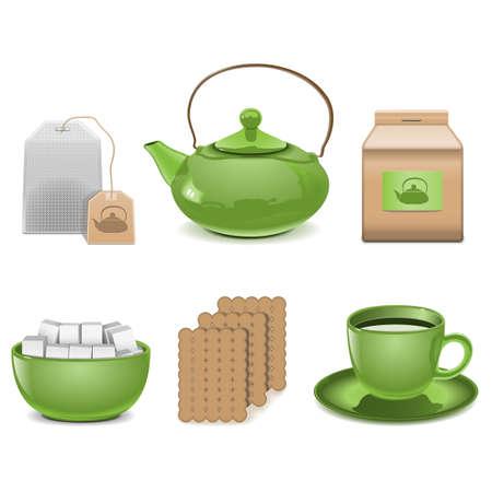 chinese tea pot: Vector Tea Icons