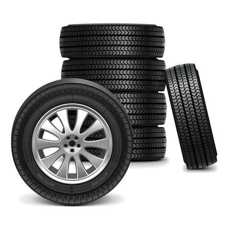 snow tires: Vector Car Wheels Illustration