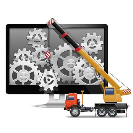 montacargas: Vector Computer Repair Concept