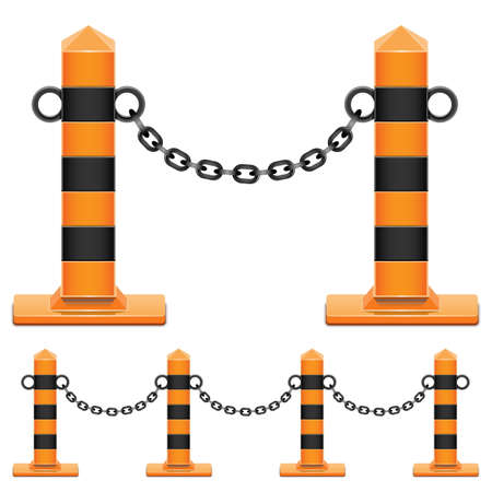 bollard: Vector Column with Chain