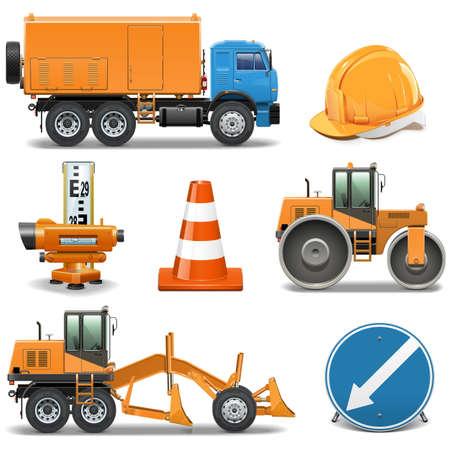 road scraper: Vector Road Construction Icons
