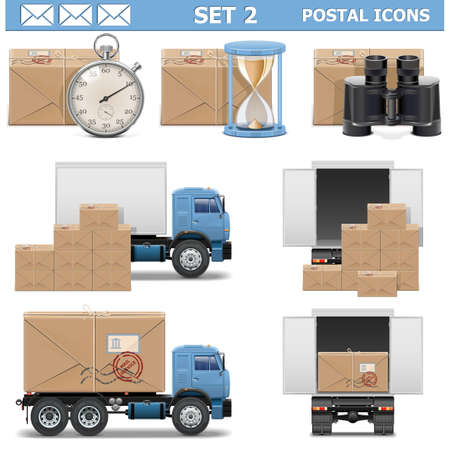 post office: Vector Postal Icons Set 2 Illustration