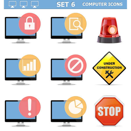 flasher: Vector Computer Icons Set 6 Illustration