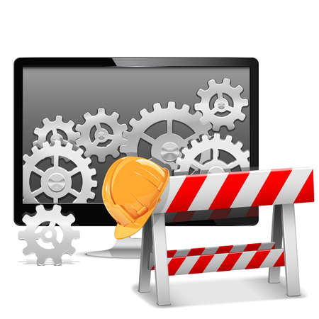 computer repair: Vector Computer Repair with Barrier