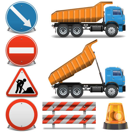 tractor warning sign: Vector Road Construction Icons set 2