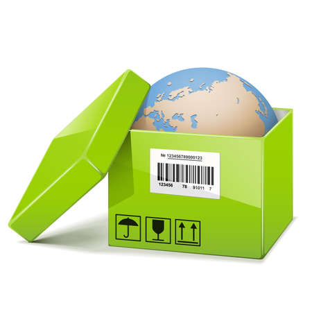 delivery box: Vector Globe in Green Box