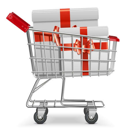 courier service: Vector Supermarket Cart with Gifts