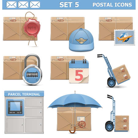 self sealing: Vector Postal Icons Set 5