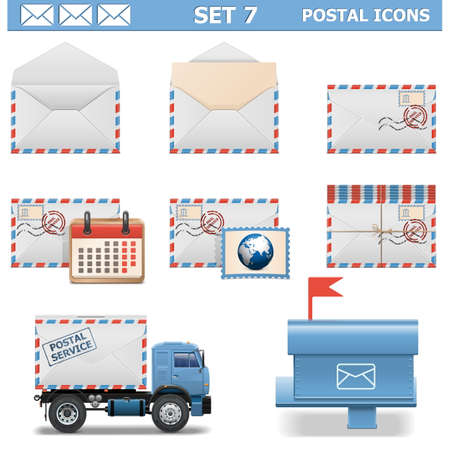 letterbox: Vector Postal Icons Set 7 Illustration