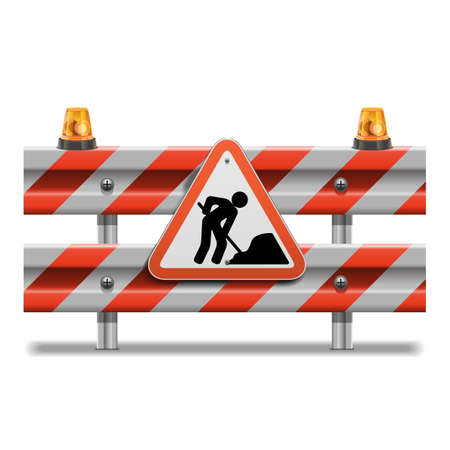 road closed: Vector Barrier with Sign and Beacon Illustration
