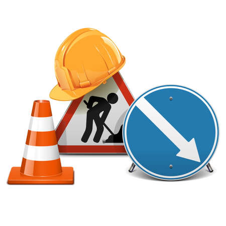 road barrier: Vector Road Signs with Helmet and Cone