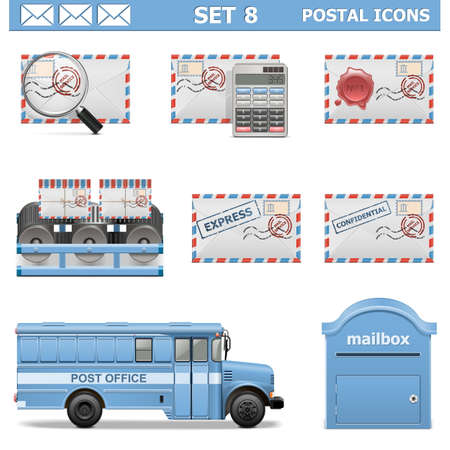Vector Postal Icons Set 8 Vector