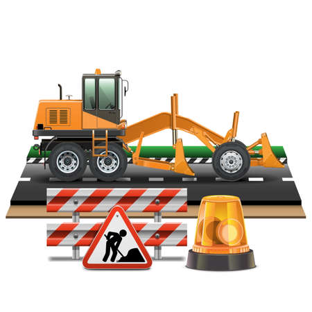Vector Road Construction with Grader Stock Vector - 26056306