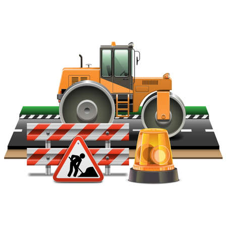 road block: Vector Road Construction with Road Roller