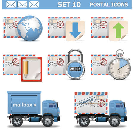 Vector Postal Icons Set 10 Vector
