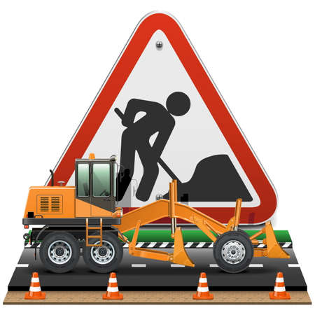 road scraper: Vector Road Construction Concept with Sign